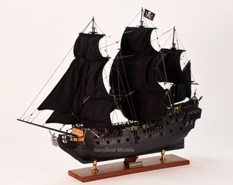 """Black Pearl Pirate Tall Ship Handcrafted Wooden Ship Model 32"""" NEW"""