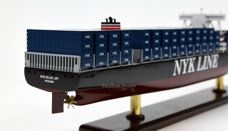 NYK Line Handmade Wooden Container Ship Model 28
