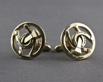 Horse Shoe On A Pair of Cufflinks With A Tie Slide Set A62 English  Pewter