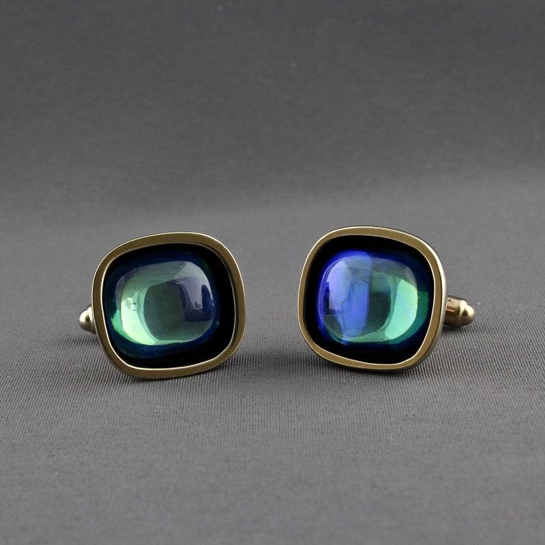 Vintage Hickok USA Mid 20th Century Modernist Blue Green Reflective Art Glass Cufflinks