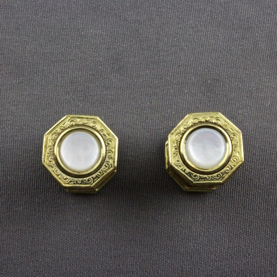 Vintage Art Deco Gold Filled Mother Of Pearl And Black Celluloid Kum A Part Snap Cufflinks By Baer /& Wilde