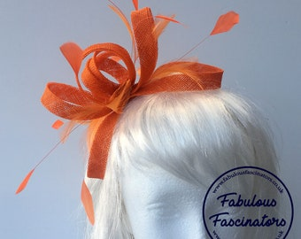 Large orange fascinator hairband with feathers  other colours available   wedding fascinator 156600666d6