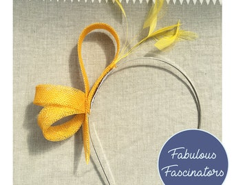 Yellow small fascinator hairband with feathers. Wedding fascinator bd195213a42