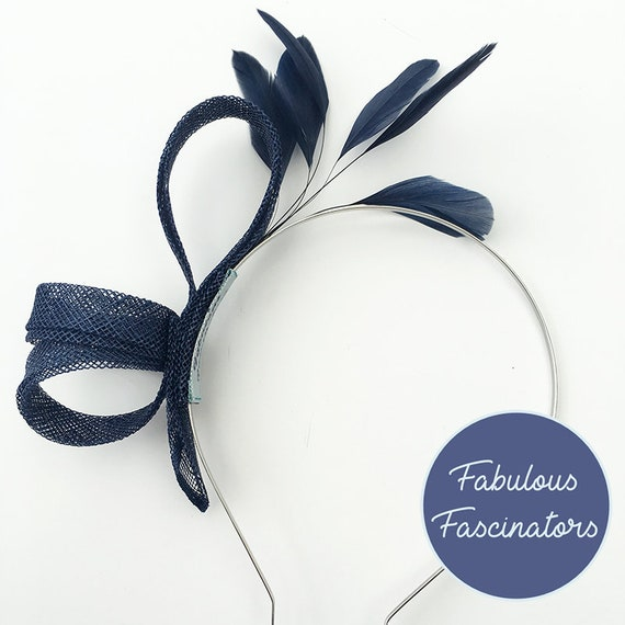 Navy blue small fascinator with feathers. Wedding fascinator  07fc0084ea0