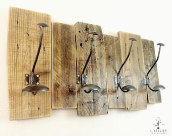Coat rack_Hook_Vintage_Pallets_Double hooks_Made in France_Shelf_Wall decoration_Hallway_Coat hanger_Entryway coat rack_Wood Coat Rack