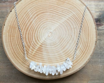 Ice quartz white necklace, Raw materials, Sterling Silver choker, April birthstone gift, Inspirational gift