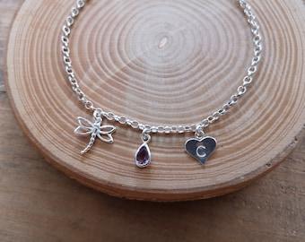 Dragonfly charm Silver bracelet, February or June birthstone, real Amethyst purple bezel set charm, Inspirational Valentines gift