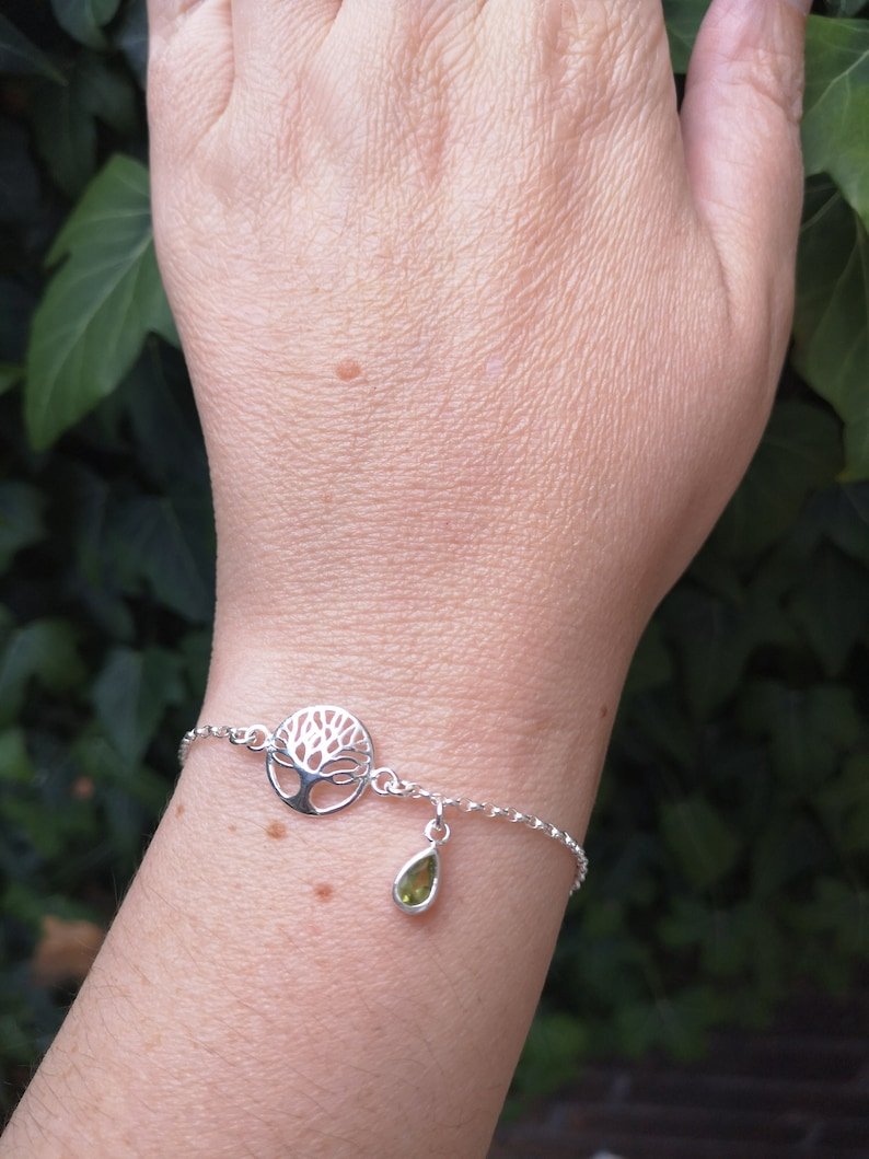 Silver and Peridot Bracelet Tree of life real green peridot teardrop charm Family Tree gift Inspirational gift
