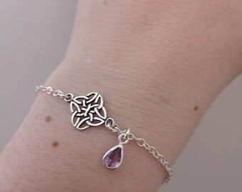 Celtic knot bracelet, February or June birthstone, real Amethyst bezel set charm, Sterling Silver rolo chain, Valentines gift for her