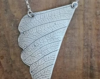 Sterling silver handmade Jewelry,  leaf vein pendant necklace, bohemian outdoors gift, rustic artisan gift, unique gift for her