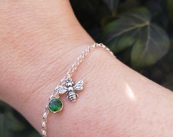 Bumble Bee Bracelet, Inspirational May birthstone, Emerald green bezel set cz stone charm, sterling silver.