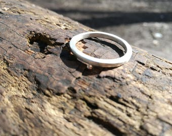 Handmade chunky band ring, sterling silver square wire wedding ring,  gift for men, or ladies, organic gift