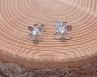 Unique gift for her, Cross with ball, petal like, flower stud Earrings, handmade in Sterling Silver, Unique artisan gift