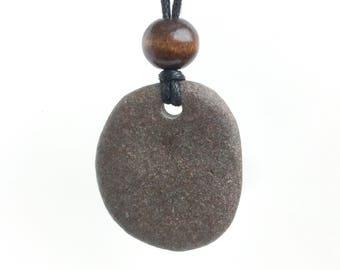Lake Superior stone pendant necklace, stone necklace, stone pendant, beach rock pendant, beach rock necklace