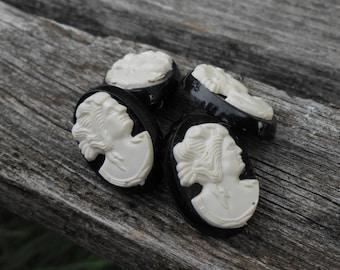 Cameo Cufflinks. Vintage. Black & White. Groomsmen Gift, Birthday, Anniversary, Dad.