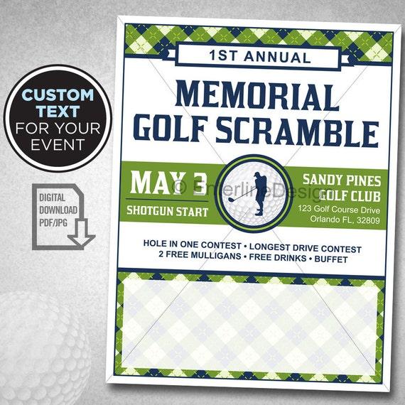 golf tournament flyer poster template invitation custom etsy