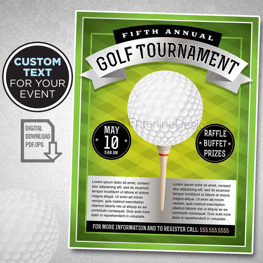 e25e9e74e85 Golf Tournament Flyer Poster Invitation Custom Digital
