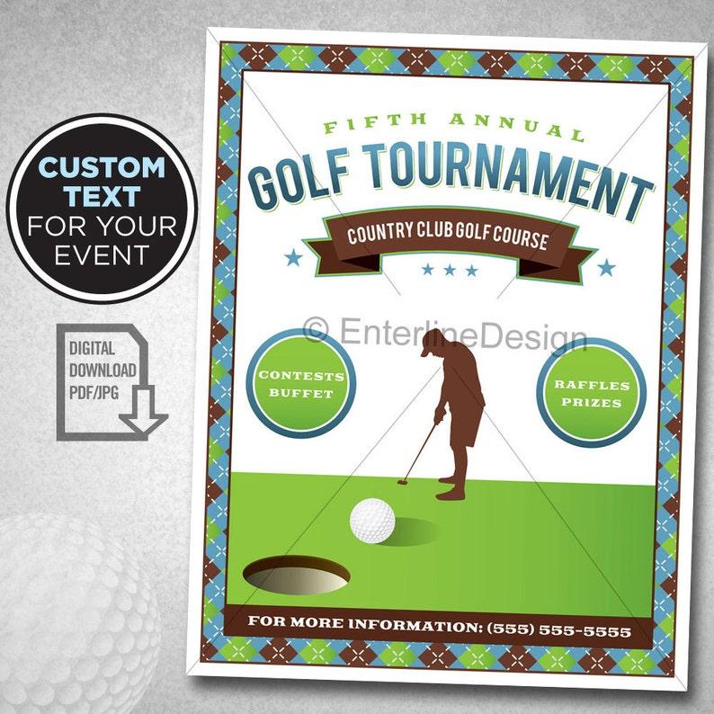 be7ad2b839d Golf Tournament Flyer Poster Template Invitation Custom