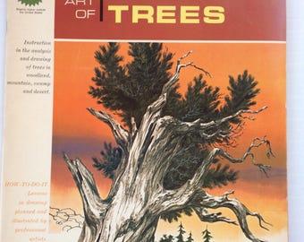 The Art Of Drawing Trees,Art Book,1966,Mid Century Decor,Grumbacher,Artist Book