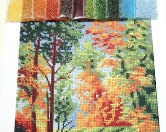 AUTUMN Seed Beads Embroidery KIT - Homedecor - Beaded Painting Picture Set - Artwork-Beadwork + Lovely GIFT