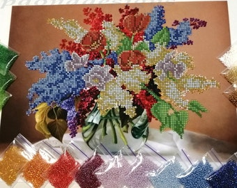FLORAL Seed Beads Embroidery KIT - Diy Homedecor - Beaded Painting Picture Set - Artwork-Beadwork + Lovely GIFT