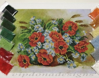 FLOWERS Seed Beads Embroidery KIT - Homedecor Diy - Beaded Painting Picture Set - Artwork-Beadwork + Lovely GIFT