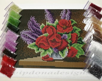 POPPIES Seed Beads Embroidery KIT - Homedecor - Beaded Painting Picture Set - Artwork-Beadwork + Lovely GIFT