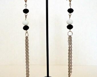 4e9f54c90037 Long Stylish Black   White Swarovski Crystals Silvery Chains Handmade  Earrings