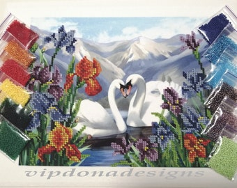SWANS Seed Beads Embroidery KIT - Homedecor - Beaded Painting Picture Set - Artwork-Beadwork + Lovely GIFT