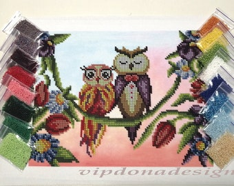 OWLS Seed Beads Embroidery KIT - Homedecor - Beaded Painting Picture Set - Artwork-Beadwork + Lovely GIFT