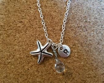 Birthstone April diamond crystal necklace starfish charm birthstone diamond birthstone crystal April birthstone crystal charm starfish April