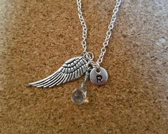 Birthstone April diamond crystal necklace angel wing charm birthstone diamond birthstone crystal April birthstone crystal charm wing April