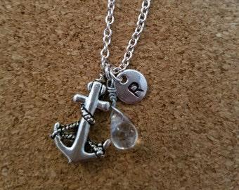 Birthstone April diamond crystal necklace anchor charm birthstone diamond birthstone anchor crystal April birthstone crystal birthstone