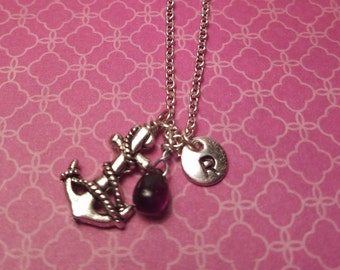 Birthstone February amethyst necklace anchor amethyst February birthstone amethyst anchor birthstone anchor necklace amethyst birthstone