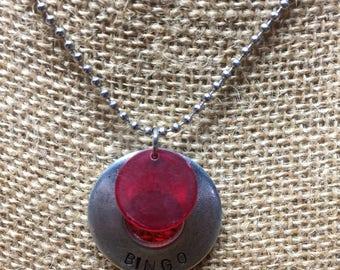 BINGO Hand Stamped Washer Necklace with Vintage Bingo Chip