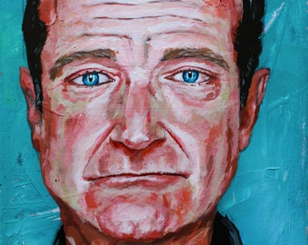 Portrait Print, Robin Williams Print, Art Print, acrylic painting, Abstract Print - Williams