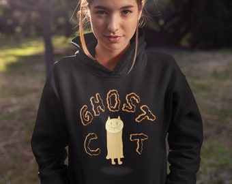 Ghost Cat Adult Unisex Halloween Spooky Fall Hand-Drawn Illustrated Hoodie