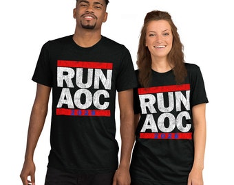 Run AOC 2028 Adult Unisex Distressed Vintage T-Shirt