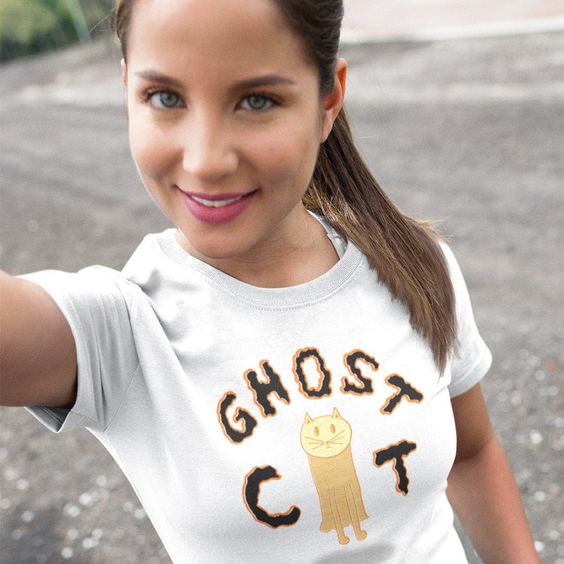 Ghost Cat Adult Womens Halloween Spooky Fall Hand-Drawn image 0