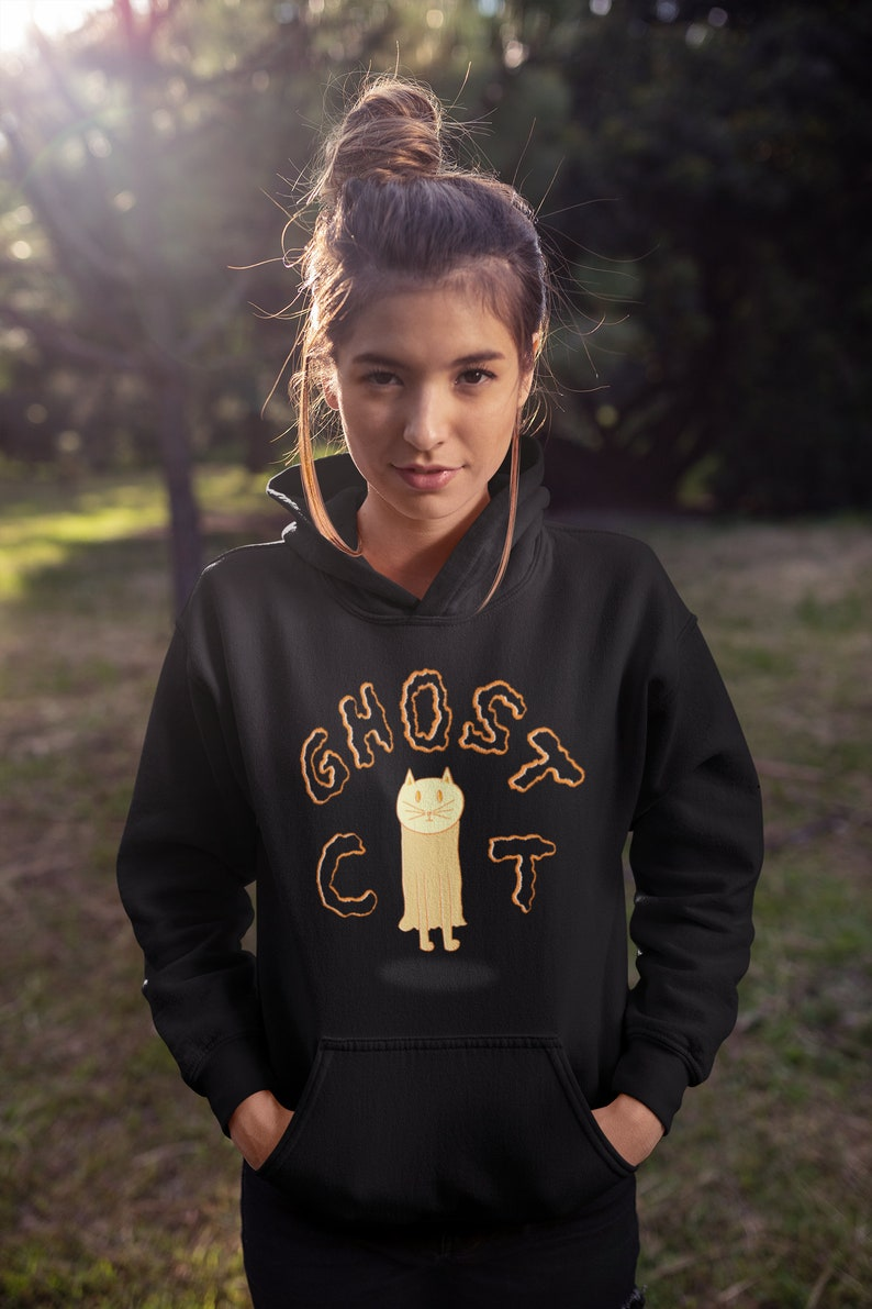 Ghost Cat Adult Unisex Halloween Spooky Fall Hand-Drawn image 0