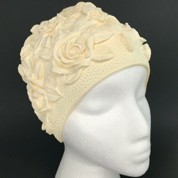Womens Rubber Floral Swim Cap Collectible One Size