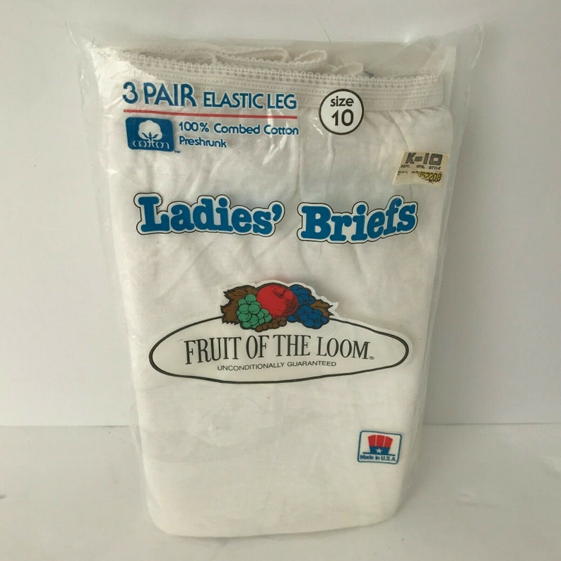 Underwear Fruit Of The Loom Ladies Cotton Briefs Size 10 Vintage 80s 3 Pack Lot of 2 New 1982 White and Multi-Color Panties