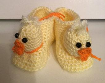 """Crochet """"Duckie"""" Baby Booties"""