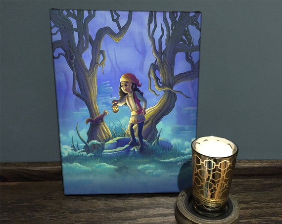 16 X 20 Fantasy Art Canvas Print Into The Mist Canvas Wall Art Fantasy Gift Spooky Forest Ready To Hang Kids Wall Art Art For Girls