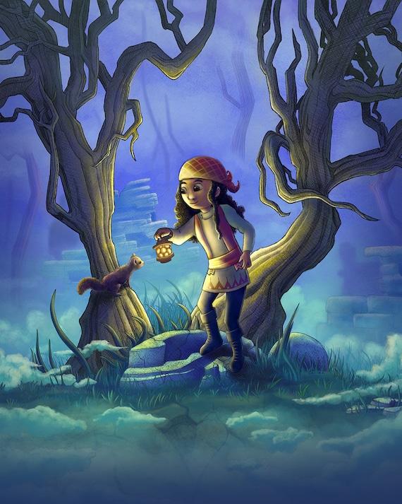 20 X 24 Fantasy Art Giclee Print Into The Mist Magical Woodland Art Girls Room Decor Kids Room Decor Girls Room Art Magical Fantasy
