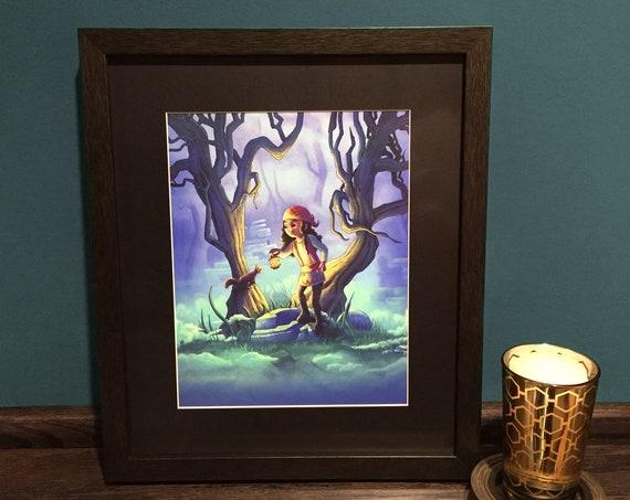 16 X 20 Fantasy Art Framed Giclee Print Into The Mist Framed Art Ready To Hang Art For Girls Kids Room Decor Dark Forest Exploring
