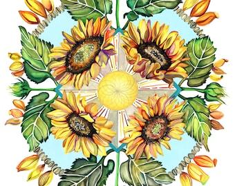 Sunflower Mandala Flower Watercolor Print