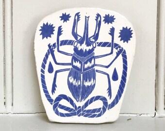 Medium Handmade Ceramic Tile - Stag