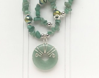 Green Aventurine  donut and chip necklace/Silver wire wrapped Aventurine  necklace
