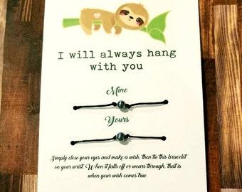 Sloth gift , Friendship bracelet , best friends , best friend gift, his hers gift , bridesmaid gift , friendship gift, bestie , matching